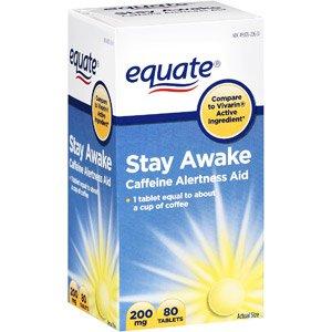 Equiparar la estancia cafeína despierta alerta ayuda, 80 tabletas, 200 mg