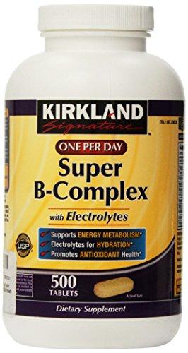 Kirkland Signature una por día Super complejo B con electrolitos, 500 comprimidos