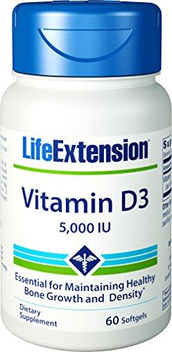 Extensión de vida vitamina D3, 5000 UI, 60 cápsulas