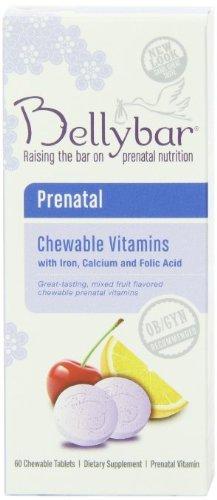 Bellybar vitaminas prenatales masticables, sabor de frutas, 60-Count (paquete de 3)