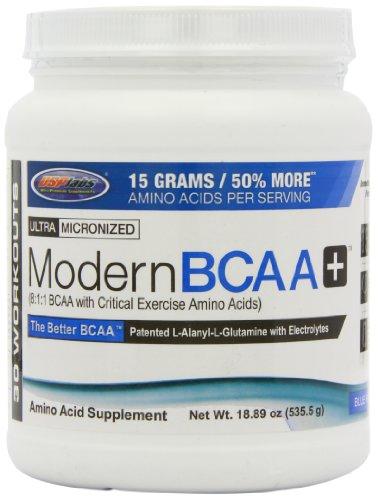 USP Labs BCAA moderno además de suplemento nutricional, frambuesa, 18,89 onza azul
