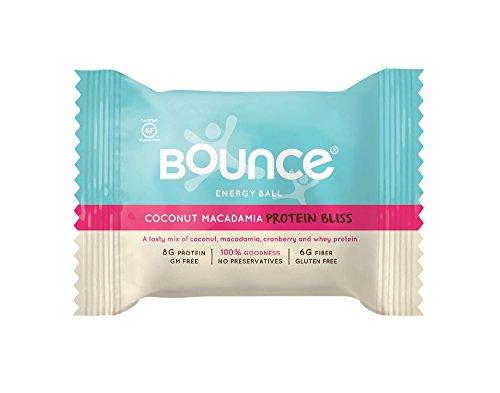 Rebote de la bola de energía Natural, sin gluten, coco Macadamia proteína Bliss, 1,4 libras, 12 bolas por caja