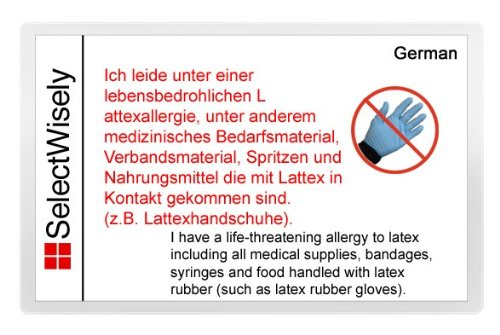 Látex alergia traducción tarjeta - traducida en alemán o en cualquiera de los 26 idiomas