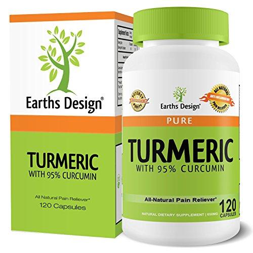 Orgánica Extracto de curcumina de la cúrcuma, 95% curcuminoides estandarizado para máxima potencia, para alivio del dolor y la inflamación conjunta, libre de OGM, sin aglutinantes, rellenos o aditivos, 600mg, 120 cápsulas vegetarianas