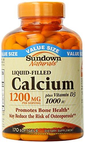 Sundown Naturals calcio más vitamina D3, llenas de líquido, 1200 mg, cápsulas, 170 ct.