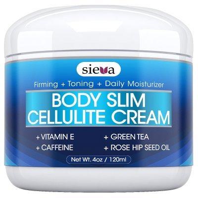 Crema de la celulitis con cafeína y Retinol - mejor celulitis tratamiento de Triple Acción para el cuerpo reafirmante, estiramiento y tonificación Anti - borrar hoyuelos de brazos, piernas, nalgas y estómago - 4 oz - por Sieva cuidado de la piel