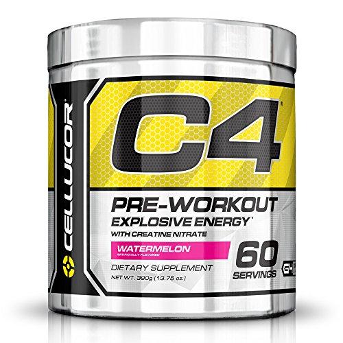 Suplemento de pre-entrenamiento C4 Fitness entrenamiento para hombres y mujeres - aumentar la energía y el enfoque con nitrato de creatina y vitamina B12, sandía, 60 porciones, 390 g