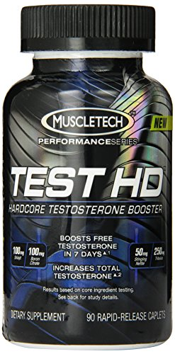MuscleTech prueba HD, testosterona Hardcore, 90 cápsulas de liberación rápida