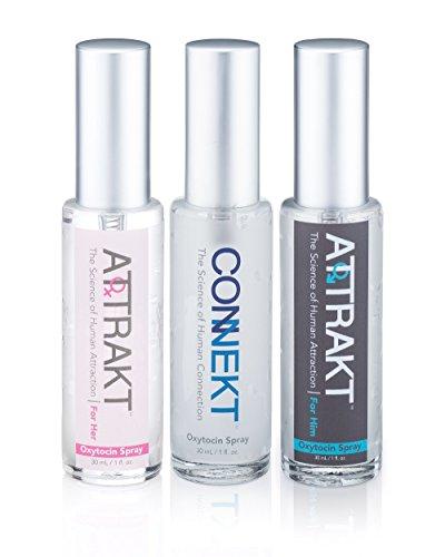 Conjunto de 3 hormonas Spray Connekt oxitocina Spray Attrakt para él y Attrakt para ella mejorar la confianza con las mejores feromonas para hombres y mujeres parejas con otros Perfumes