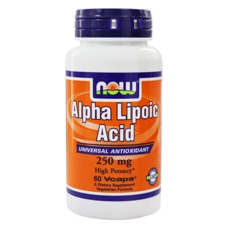 NOW Alimentos ácido alfa lipoico 250 mg 60 cápsulas vegetales