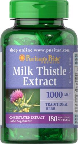 Pride leche Thistle extracto 4:1 1000 mg (silimarina)-180 perlas de Puritan