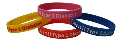 Tipo 1 diabetes tipo pulseras insulina dependiente médico alerta-Set de 4 azul, rosa, amarillo, rojo y bono Wellness artículo incluido