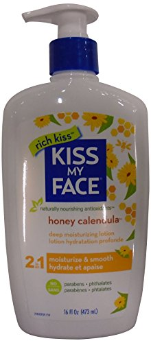 Beso mi crema hidratante de cara para piel Extra seca con miel y caléndula, loción del cuerpo, 16 onzas (paquete de 3)