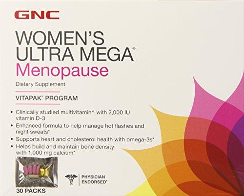 Ultra Mega menopausia Vitapak suplemento de la mujer GNC, cuenta 30