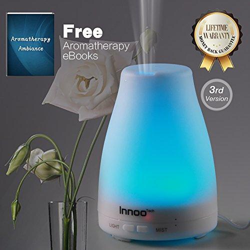 Difusor del aceite esencial, 3 eBooks versión Cool Mist Aroma humidificador aromaterapia incluido con niebla ajustable modo sin agua Auto Shut-off y 7 Color LED luces para cambiar dormitorio oficina hogar