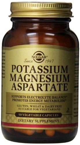 Potasio de Solgar magnesio aspartato cápsulas vegetales, cuenta 90