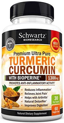 Premium curcumina de la cúrcuma 1300mg con Bioperine ® (curcuminoides 95% estandarizado) no GMO, libre de Gluten. Fuerza adicional pastillas de cúrcuma con pimienta negra. No aglutinantes. Hecho en la garantía de devolución de dinero de Estados Unidos