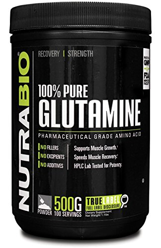 NutraBio 100% puros L-glutamina polvo - 500 gramos - HPLC probado, micronizado, sin sabor, sin aditivos o rellenos, GMP. Post entrenamiento muscular suplemento de recuperación.