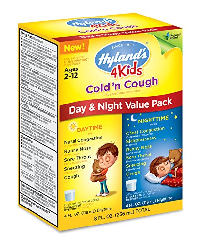 De Hyland's fría de 4 niños y tos día y noche valoran Pack, alivio de síntomas de resfriado común Natural, 8 onzas