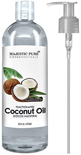 Majestuoso puro coco fraccionado aceite de 16 Oz - 100% puro y Natural - uno de los mejores aceites de aromaterapia Carrier - crema hidratante y suavizante, excelente como aceite de masaje con numerosos piel & cabello beneficios
