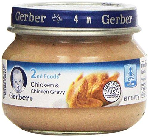 Alimentos Gerber 2 carnes, pollo y salsa de pollo, 2.5 onzas (Pack de 12)