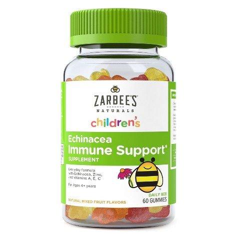 Naturals diario abeja goma soporte inmune diaria fórmula suplemento dietético de Zarbee con Equinacea, Zinc y vitaminas A, E & C, sabores de limón, naranja y cereza, 60 gomitas