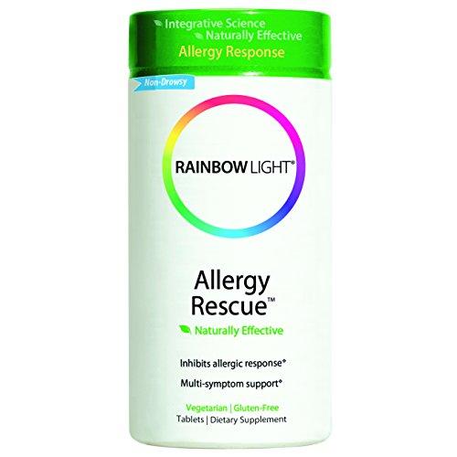 Arco iris luz alergia rescate suplemento alimenticio basado en alimentos comprimidos, frasco de 60 cápsulas