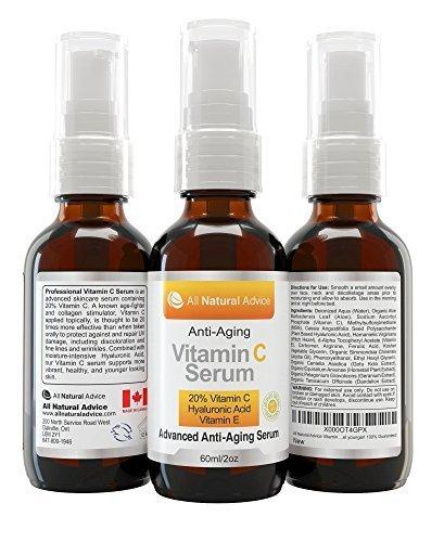 20% vitamina C suero duplicar el tamaño en 2 onzas o 60 ml MADE IN Canadá certificado orgánico con ácido hialurónico + vitamina E crema hidratante + colágeno Boost, revertir envejecimiento de la piel, quita sol manchas arrugas y ojeras, excelente para pie