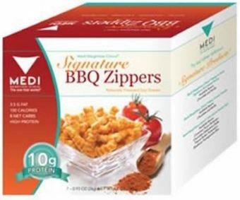 Medi-Weightloss barbacoa cremalleras aperitivos, alta en proteínas (10g), 100 calorías - 7 paquetes por caja
