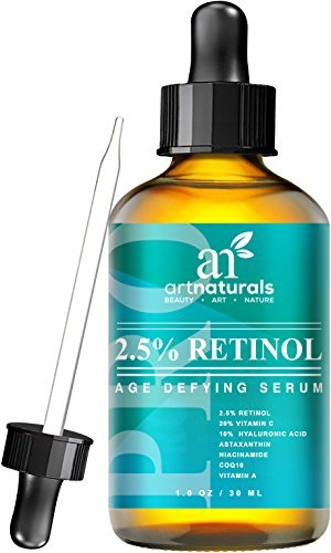 Naturales arte mayor suero Retinol 2.5% con 20% vitamina C y ácido hialurónico 1 oz --mejor Anti arrugas, Anti envejecimiento suero para la cara y la sensibilidad de la piel - clínica ingredientes orgánicos de la fuerza-terapia de noche