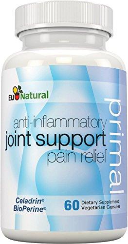 Alivio del dolor antiinflamatorio de primordial apoyo conjunto, 60 cápsulas vegetarianas (fórmula de fuerza Extra con Celadrin, curcumina, Boswellia)