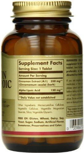 Solgar canela alfa lipoico ácido tabletas, cuenta 60