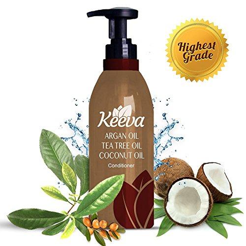 #1 el mejor acondicionador orgánico profundo con aceite de árbol de té, aceite de argán y aceite de coco 3-en-1 fórmula por Keeva - ingredientes 100% naturales - perfecto para hidratación dañado, seco, rizados, Color de cabello tratado