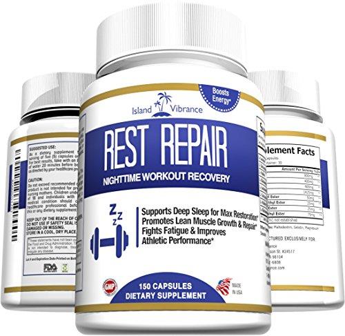 Post entrenamiento muscular recuperación suplemento - mejor potente BCAA noche tiempo apoya fórmula músculo magro crecimiento y reparación, aumenta la energía, la resistencia y el rendimiento de fuerza - 150 Cápsulas - Made in USA