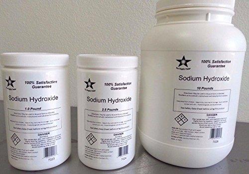Sodio hidróxido 98% puro (Soda cáustica, lejía) Micro perlas de FCC / 5 Lb de la categoría alimenticia