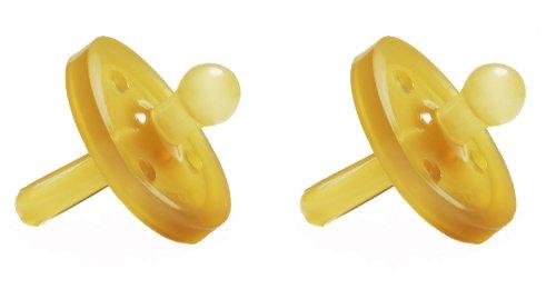 Libre de BPA Natursutten chupete de caucho Natural, redondeado pequeño, 0-6 meses, 2 paquete