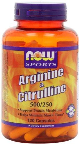 Ahora alimentos Arginina 500mg y citrulina 250mg, cápsulas, 120-Conde