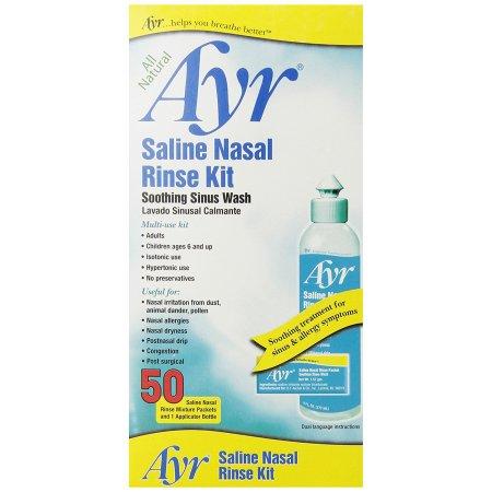 Solución salina nasal para Enjuague y aliviar la sinusitis 50 Enjuagues