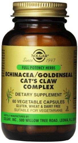 Uña cápsulas vegetales complejas de Solgar Full potencia Echinacea Goldenseal/gato, cuenta 60