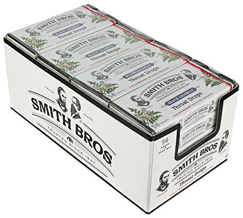 Smith Brothers garganta gotas con vitamina C, sabor a regaliz negro, #7915-14 gotas / caja, 20 cajas