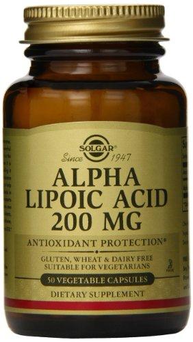 Solgar alfa lipoico cápsulas vegetales, 200 Mg, 50 cuenta