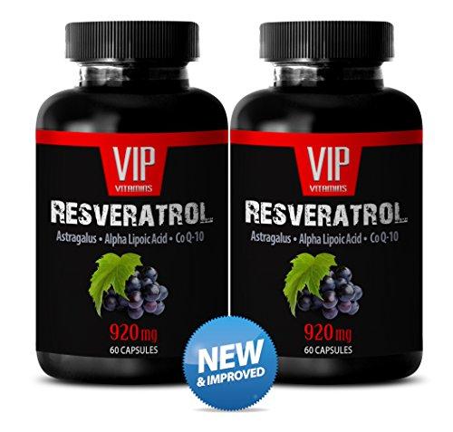 Extracto de vino de apoyo de sistema nervio - Natural uva semilla extracto y antioxidante (2 frascos de 120 cápsulas)