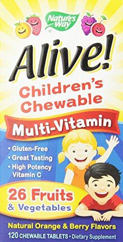 Chewableable multivitamínico tabletas de los niños de manera viva de la naturaleza, cuenta 120