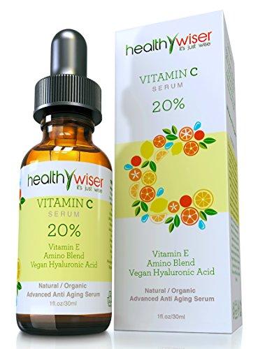 HealthyWiser - suero de vitamina C orgánica para cara 20% vitamina E + vegano el ácido hialurónico, Aloe Vera orgánica, aceite de Jojoba + mezcla Amino - el mejor Anti envejecimiento fórmula con ingredientes naturales, 1 onza