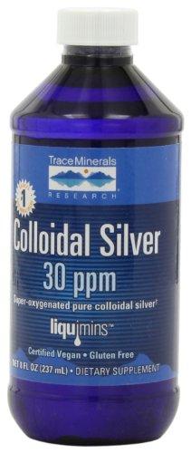 Trazas minerales Liquimins de investigación plata coloidal 30 ppm, dieta suplemento fórmula líquida, 8 fl oz botella