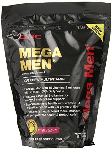 GNC Mega Men suave masticar suplemento multi-vitaminico, Fruit Punch, cuenta 60