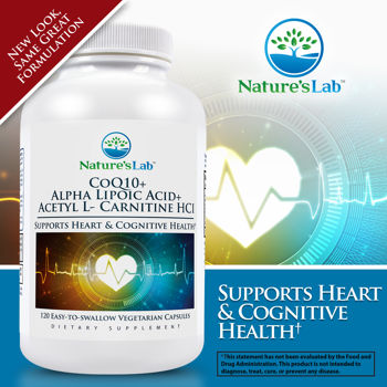 Nature's Lab ™ + Acetil L-carnitina HCl CoQ10 + ácido alfa lipoico, 120 cápsulas vegetales