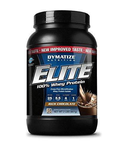 Nutrición de Dymatize Elite Whey Shake, rico Chocolate, 2 libras