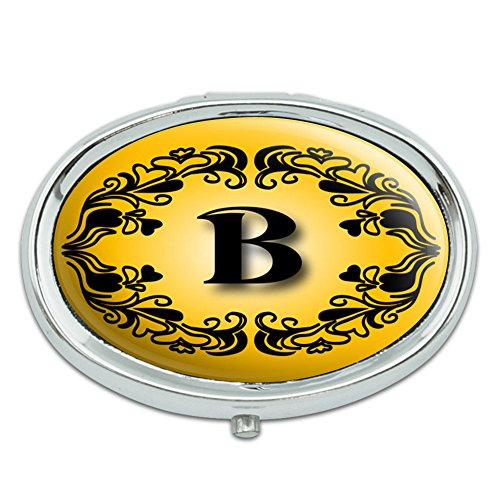 Elegante letra B inicial lujo Plaza oro negro Metal Oval caso pastillero