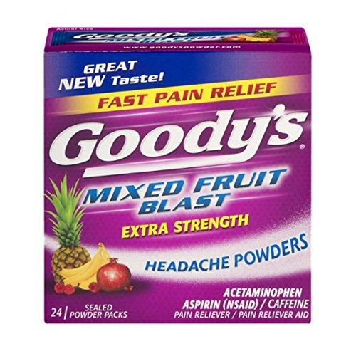 Goody de dolor de cabeza en polvo, mezclada frutas Blast, cuenta 24